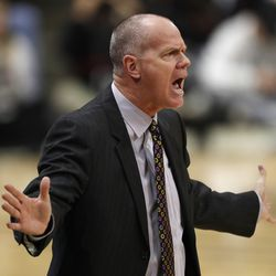 Colorado head coach Tad Boyle directs his team against Utah in the first half of an NCAA college basketball game Sunday, Jan. 12, 2020, in Boulder, Colo.