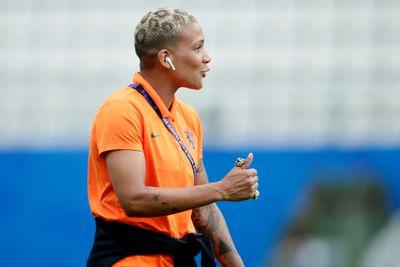 Shanice van de Sanden with leopard-print dyed hair.