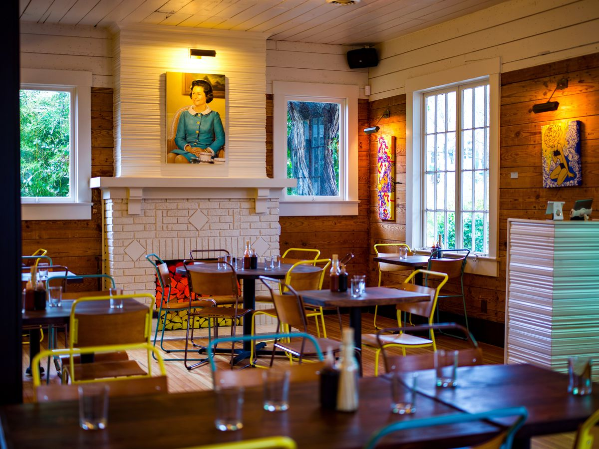 Another view of Bar Peached's dining view, featuring that portrait of Lady Bird Johnson
