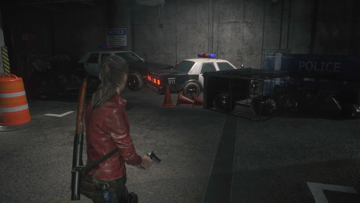 Open the patrol car trunk with the Car Key in Resident Evil 2