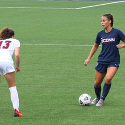 UConn's Jackie Harnett #41 during the UMass Minutewomen vs the UConn Huskies at Morrone Stadium at Rizza Performance Center in an exhibition women's college soccer game in Storrs, CT, Monday, August 9, 2021.