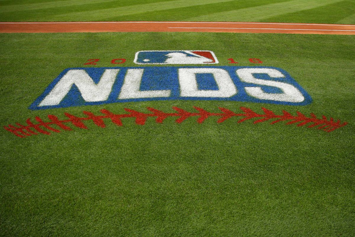 A general shot of an NLDS logo prior to game one of the 2016 NLDS playoff baseball series between the Chicago Cubs and the San Francisco Giants at Wrigley Field.