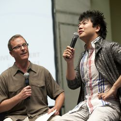 Welz Kauffman and Lang Lang lead a discussion at the Chicago Cultural Center for a group of young artists. | Provided