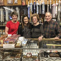 Ji Suk Yi with the owners of Athenian candle  in Greektown; Helen Paspalas and  Thomas and Jean  Paspalas.   Brian Rich / Sun-Times