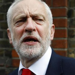 Britain's Labour party leader Jeremy Corbyn speaks after voting in the general election at a polling station in London, Thursday, June 8, 2017.