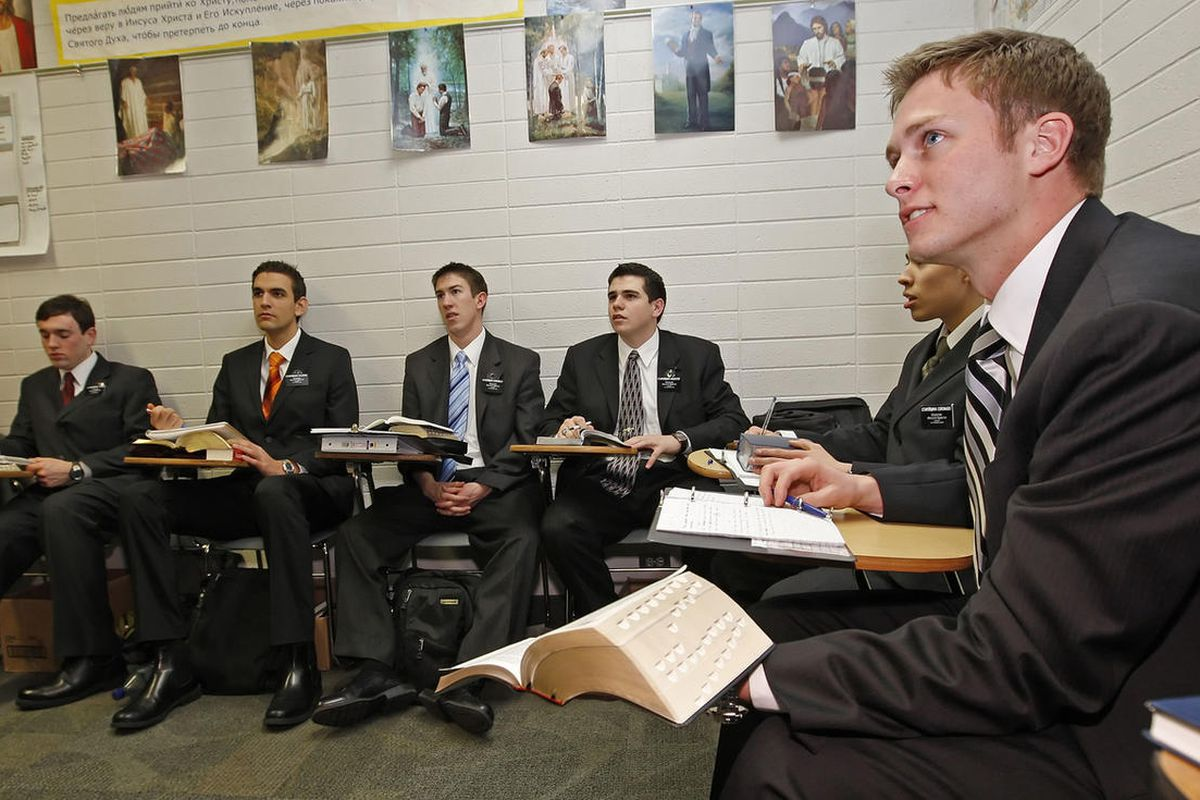 Elder Tanner Camp, right, and other missionaries take Russian language lessons at the Missionary Training Center in Provo, Utah, in 2008.