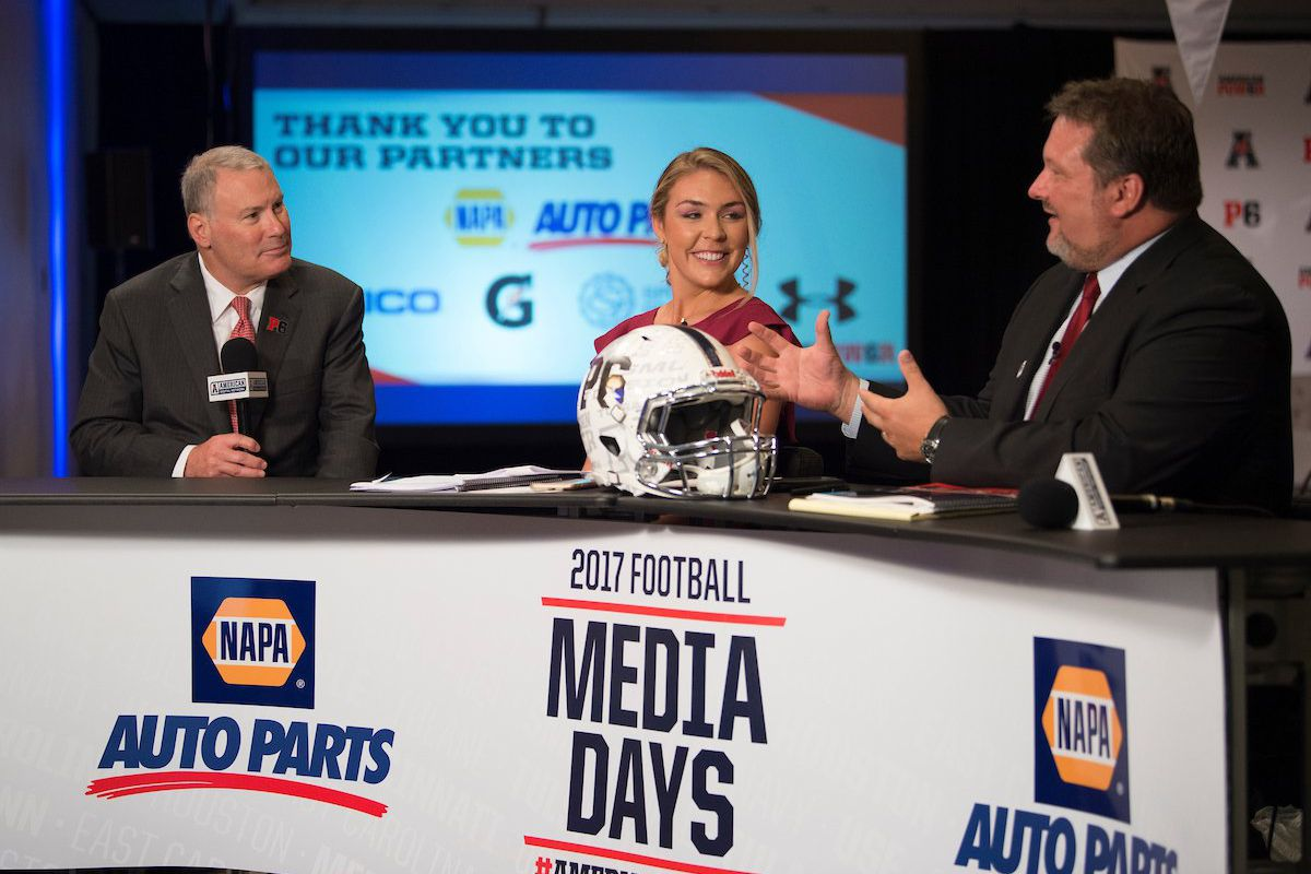 Hali Oughton (center) hosts AAC Media Days in Newport, Rhode Island (Photo: American Athletic Conference)