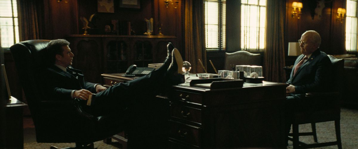 Sam Rockwell and Christian Bale as George W. Bush and Dick Cheney in Vice.