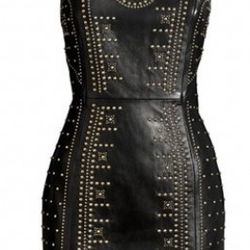 """A lucky UK shopper is selling this <a href=""""http://www.ebay.com/itm/VERSACE-H-M-BLACK-LEATHER-GOLD-STUDDED-DRESS-UK-8-BNWT-/120813238847?pt=UK_Women_s_Dresses&hash=item1c2107ba3f"""" rel=""""nofollow"""">size 6 leather dress</a> for about $545 American. And sh"""