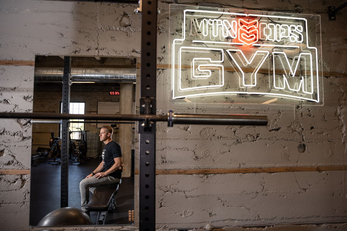 Trevor Farnes, CEO and co-founder of MTN OPS, poses for a photo in the gym at the company's headquarters in Fruit Heights on Wednesday, Aug. 11, 2021.
