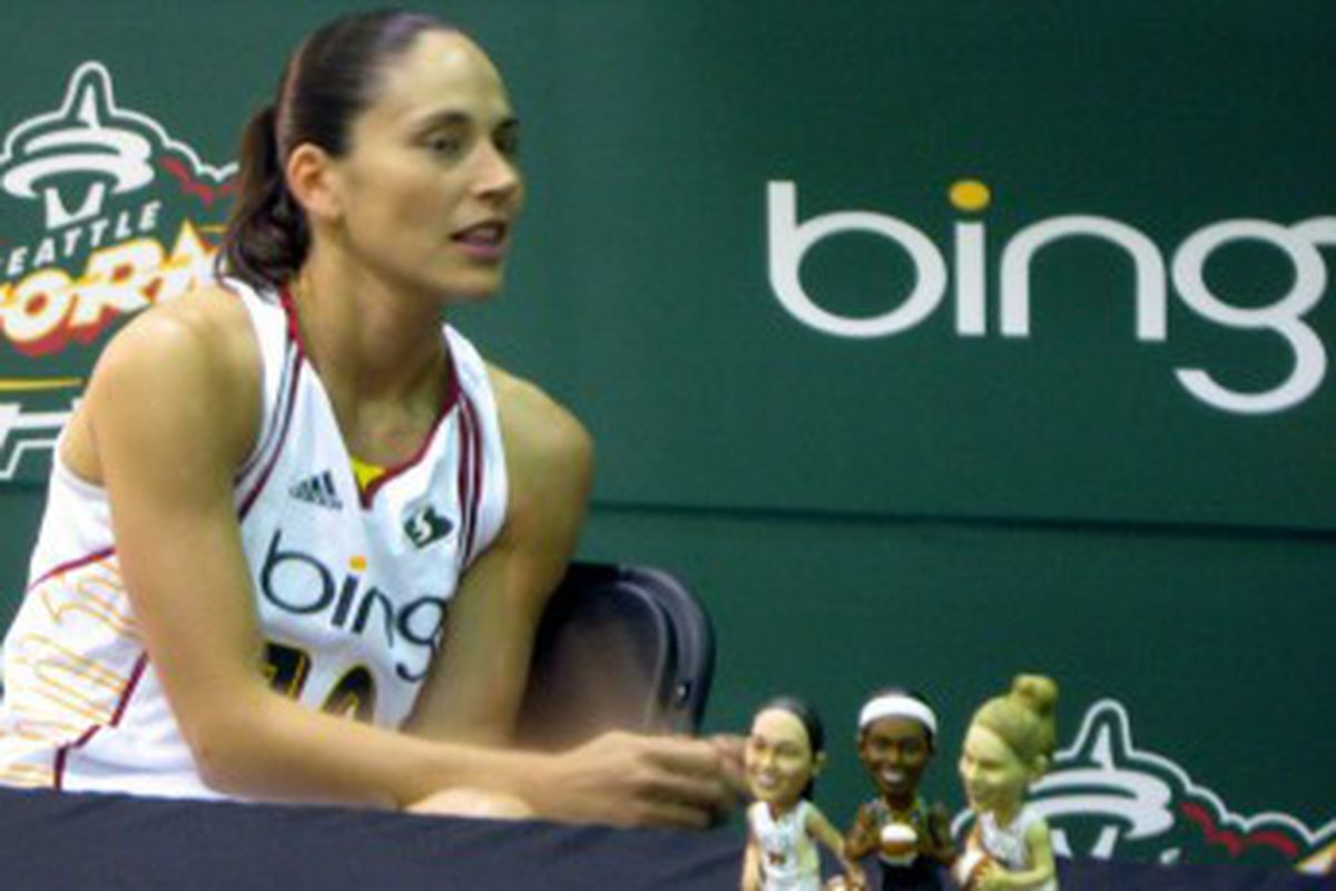 All-Star point guard Sue Bird at Seattle Storm Media Day II this Wednesday.