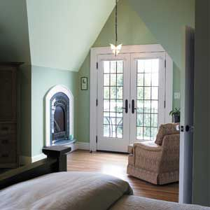 <p><strong>COLOR ILLUSION</strong> <br>Use color to call attention to a room's architectural details or to distract<br> from its negatives. In this bedroom, using a pale green all over elongates the short walls by blending<br> them into the dramatically sloped ceiling. The color is nuanced enough to take on different shadings depending on how the light hits it, adding more depth and dimension. Crisp white trim highlights<br> the room's built-in features, including the fireplace and a pair of Fre