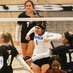 Mountain View and Timpview compete in a UHSAA 5A volleyball state championship game at Hillcrest High School in Midvale on Saturday, Nov. 7, 2020.
