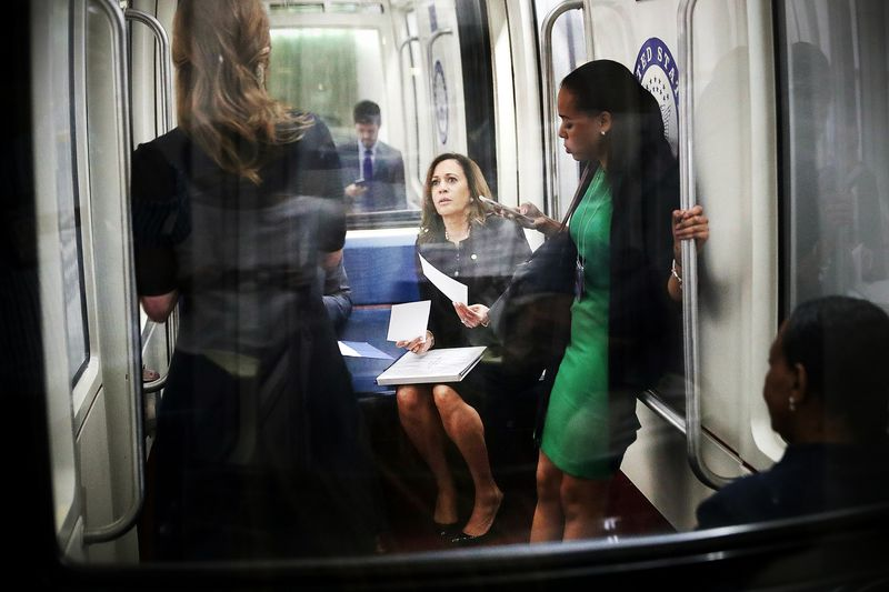Sen. Kamala Harris (D-CA) rides the Senate subway before a news conference about legislation she is introducing to reunify immigrant families at the US Capitol on July 17, 2018 in Washington, DC.