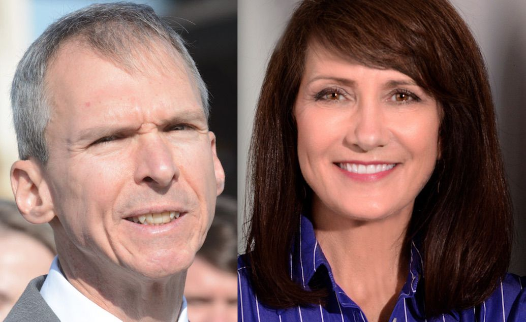 U.S. Rep. Dan Lipinski (left) and Marie Newman, who is running against him in the 3rd Congressional District Democratic primary. | James Foster/For the Sun-Times