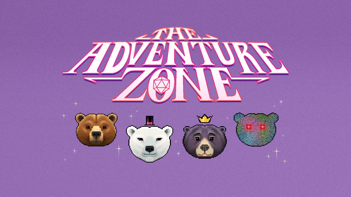 """The Adventure Zone logo is at the top, featuring a D20 in the """"O"""". Below the logo is an illustration of four bear heads. From left to right, a brown bear, a polar bear with a top hat, a black bear with a gold crown, and the outline of a bear filled in with static and red eyes. All on a lilac background."""