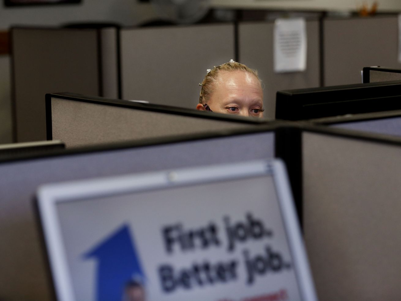 Jamie Prescott, of West Valley City, searches for jobs at the Department of Workforce Services in Taylorsville on Wednesday, Sept. 16 2020.