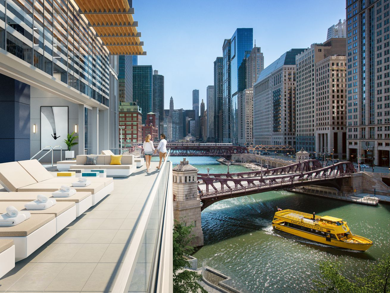 A rendering of an outdoor deck at Wolf Point East, overlooking the Chicago River.