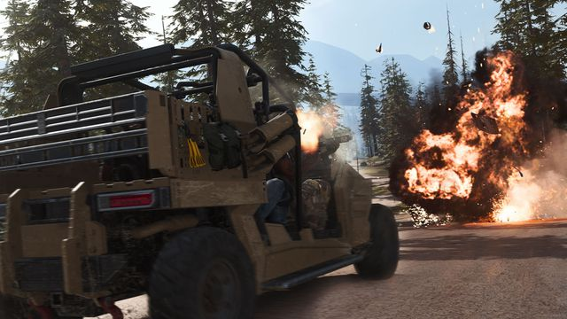 A humvee drives toward and explosion in Call of Duty Modern Warfare 2019