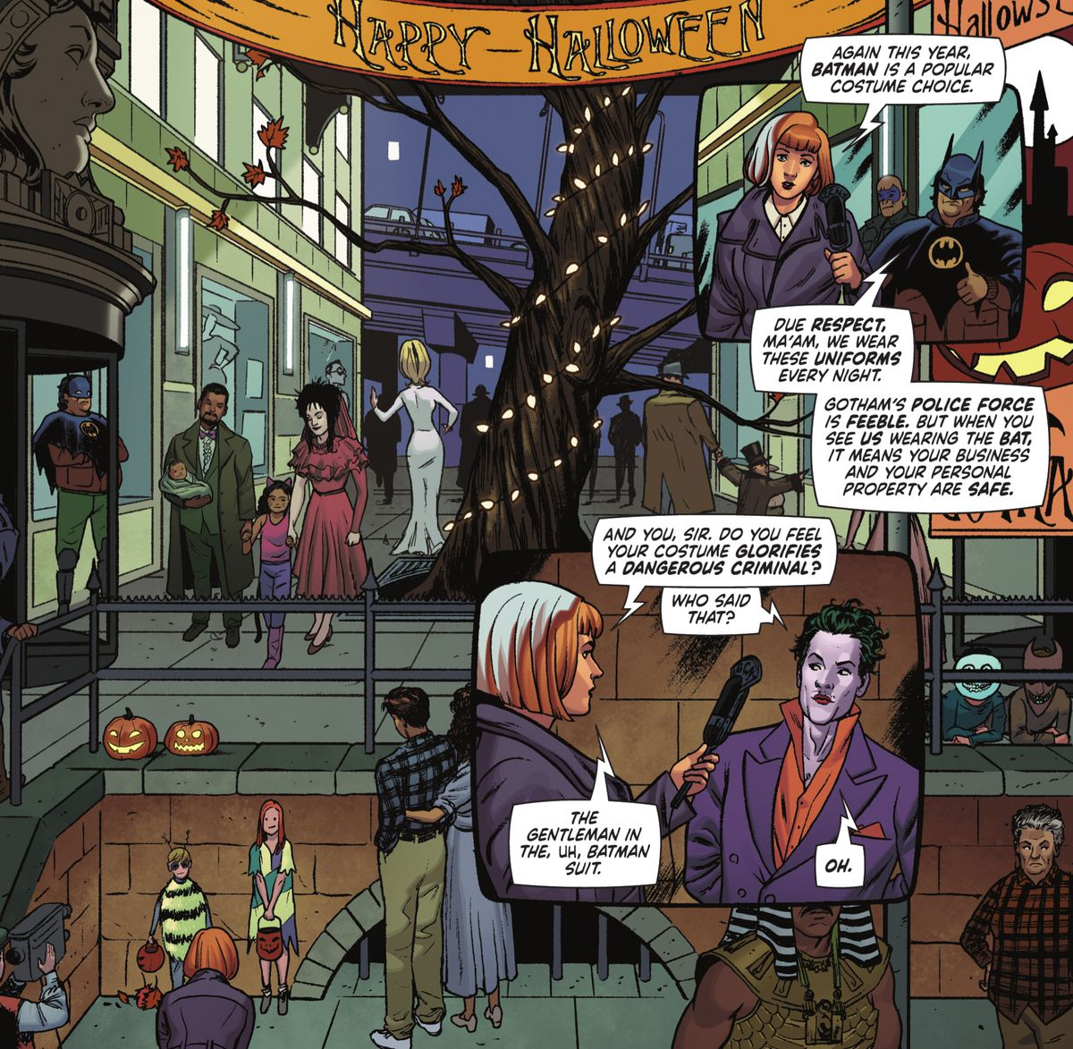 Trick-or-treaters in Gotham City are dressed up as various characters from Tim Burton films, including Beetlejuice, The Nightmare Before Christmas and Mars Attacks in Batman '89 # 1 (2021).