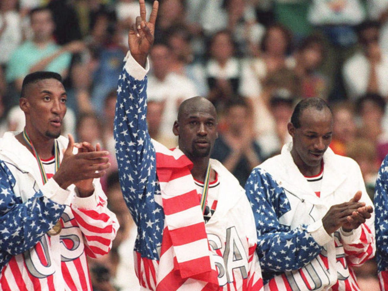 In sweeping their overmatched international opponents in Barcelona, the U.S. Dream Team (including, from left, Scottie Pippen, Michael Jordan and Clyde Drexler) created by 11 NBA superstars set the standard for future American basketball teams.