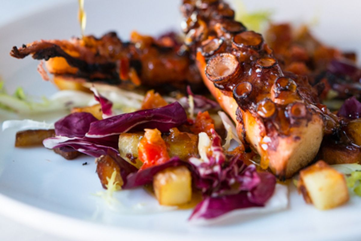 A closeup view of a grilled octopus dish, on a plate with colorful garnishes.
