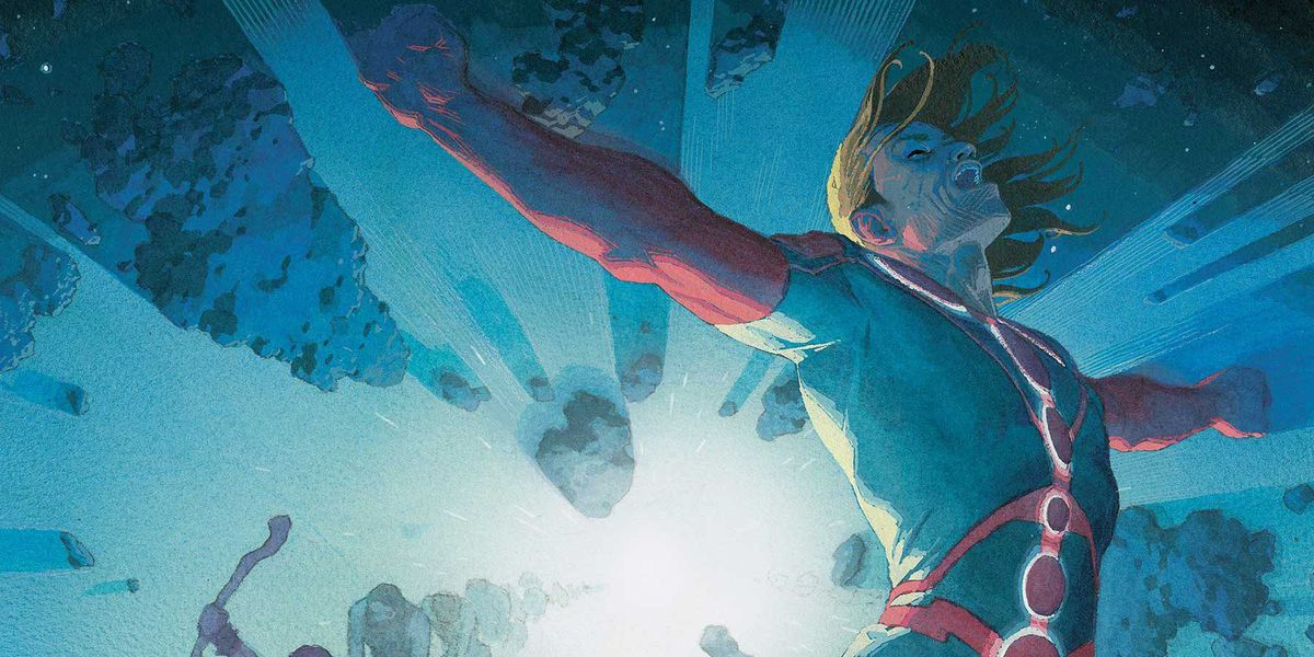 Ikaris of the Eternals swoops triumphantly through space on the cover of Eternals #1, Marvel Comics (2020).