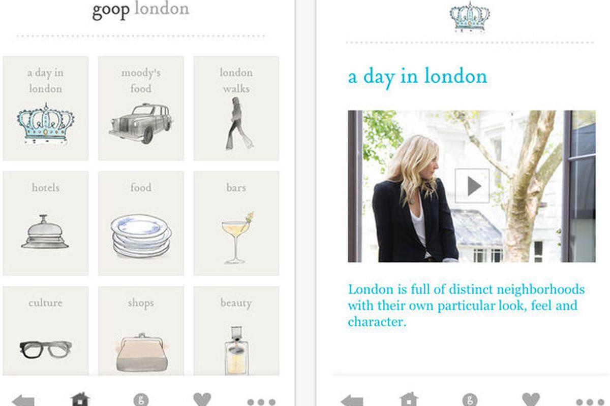 Screenshots of Goop's London app
