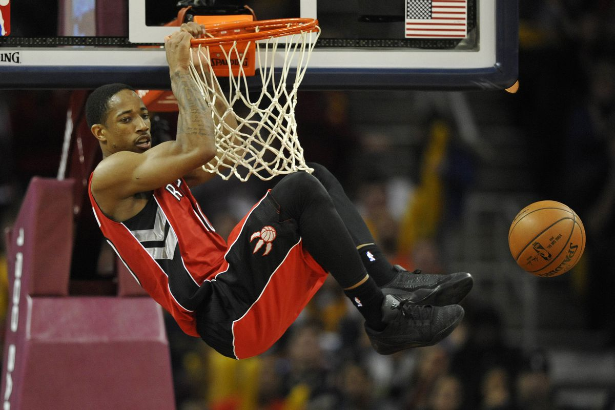 It occurred to me that DeRozan might be hanging on the rim here.