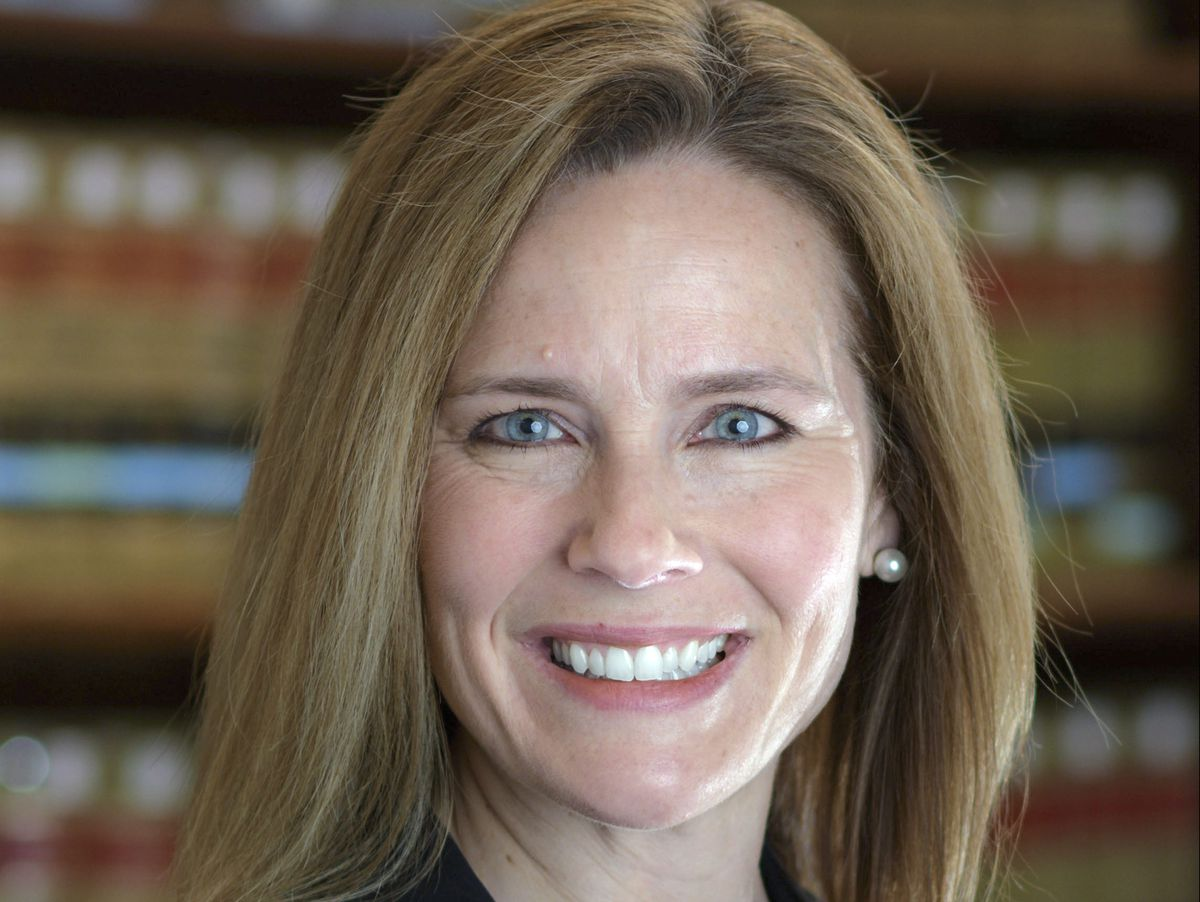 This 2017 photo provided by the University of Notre Dame Law School in South Bend, Ind., shows Judge Amy Coney Barrett. Barrett is on President Donald Trump's list of potential Supreme Court Justice candidates to fill the spot vacated by retiring Justice