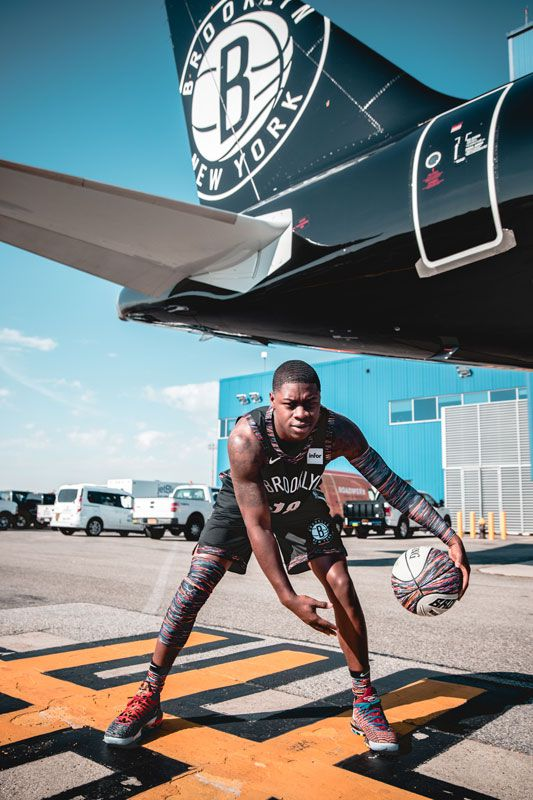 """b802c9ee0 The Nets finished off the day with D'Angelo Russell and Rodions Kurcus  visiting the Christopher """"Biggie"""" Wallace Courts, named for the Brooklyn  rapper."""