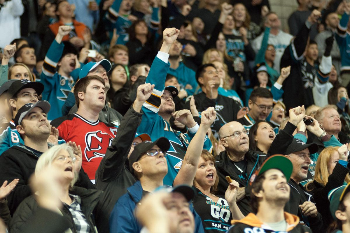 Devils fan suddenly realizes that he is no match for the power of SAP Center.