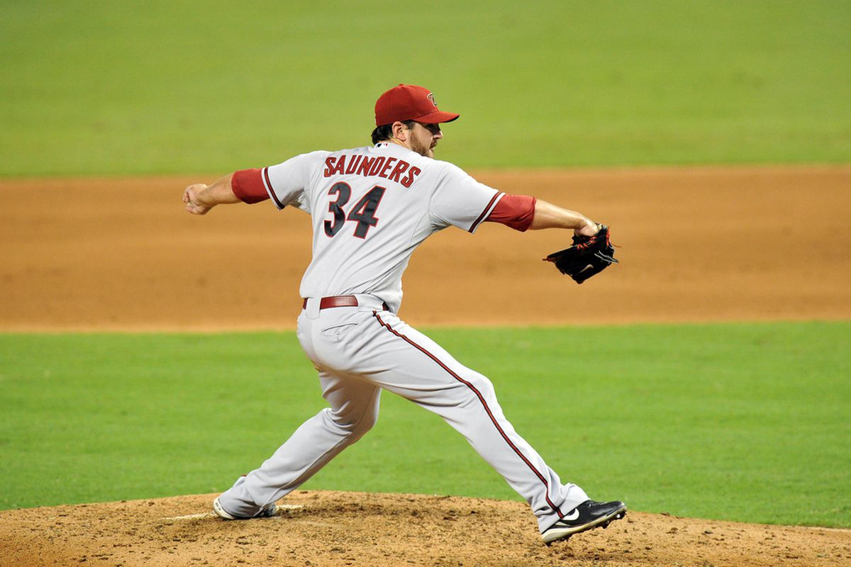 Joe Saunders mowed down the Miami Marlins in a complete game shutout. Mandatory Credit: Steve Mitchell-US PRESSWIRE