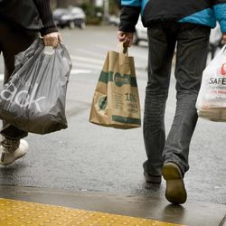 In this Saturday, Jan. 30, 2010 picture, people carry paper and plastic shopping bags in Portland.