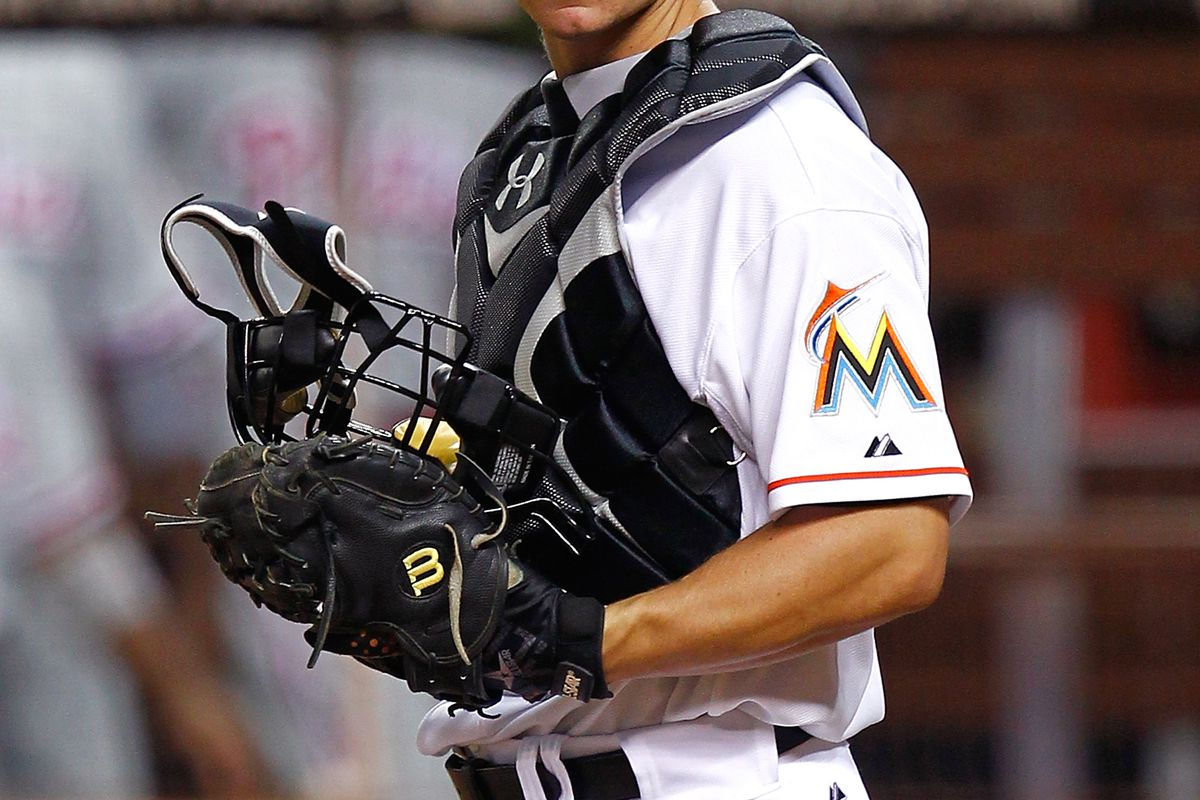MIAMI, FL - AUGUST 14:  Rob Brantly #19 of the Miami Marlins looks on during a game against the Philadelphia Phillies at Marlins Park on August 14, 2012 in Miami, Florida.  (Photo by Sarah Glenn/Getty Images)