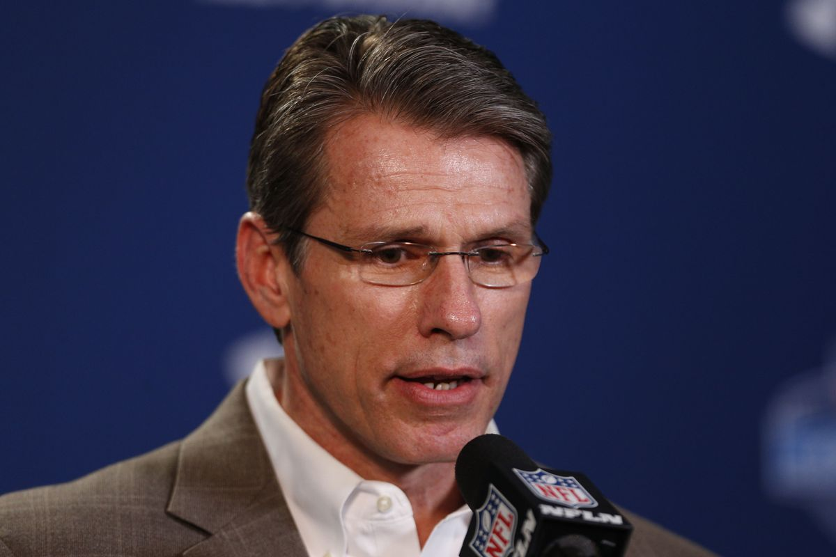 Rick SPielman, looking through the soul of the press at the NFL Combine.