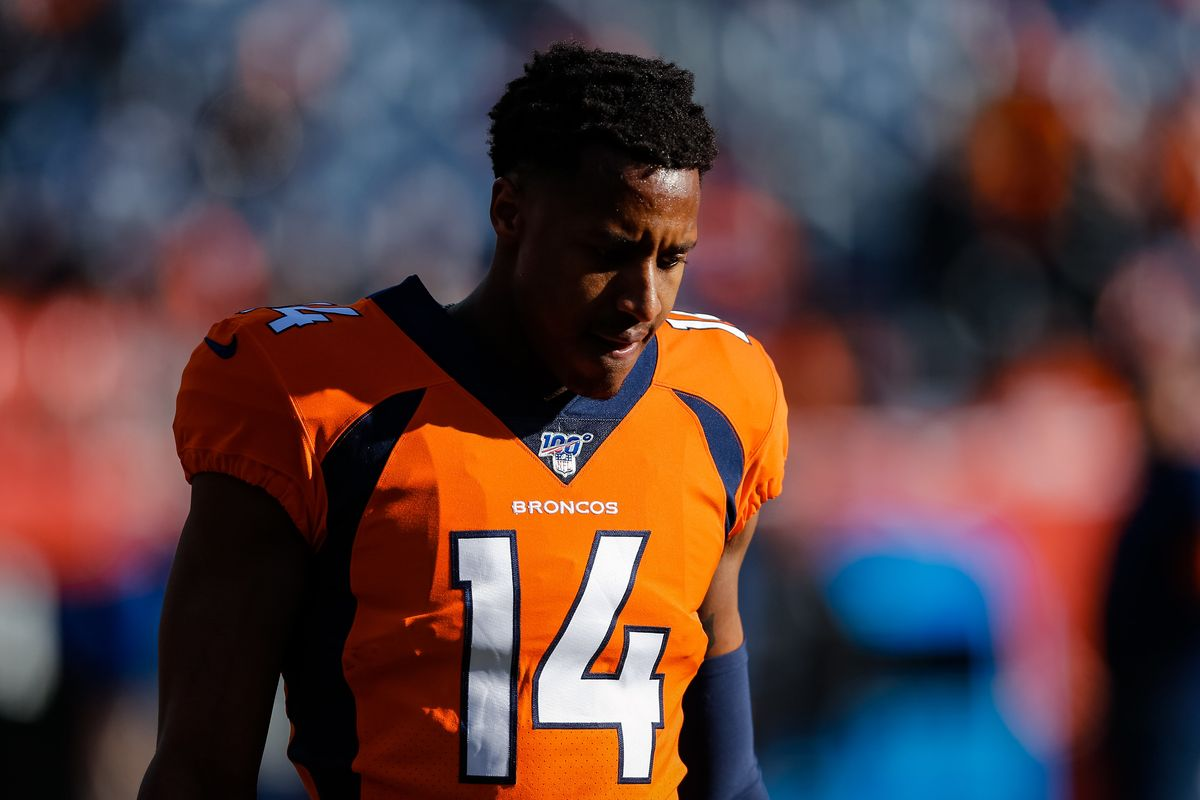 Denver Broncos wide receiver Courtland Sutton before the game against the Oakland Raiders at Empower Field at Mile High.