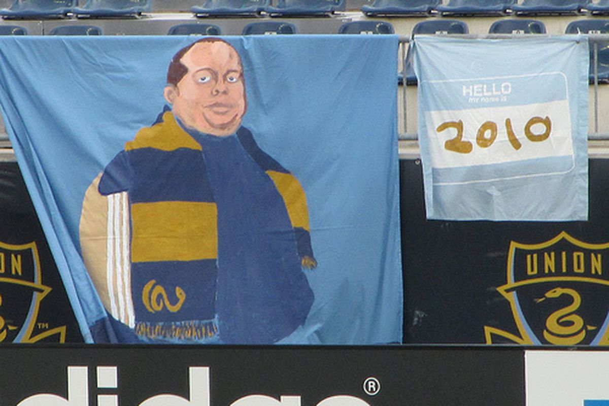 Tifo celebrating former Sons of Ben president Bryan James' time as leader of the supporters group. (Photo courtesy of @barbcvphilly)