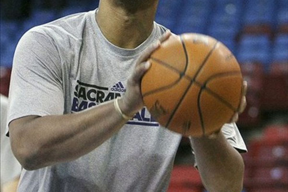 March 7, 2012; Sacramento, CA, USA; Sacramento Kings center Chuck Hayes (42) warms up before the game against the New Orleans Hornets at Power Balance Pavilion. Mandatory Credit: Kelley L Cox-US PRESSWIRE
