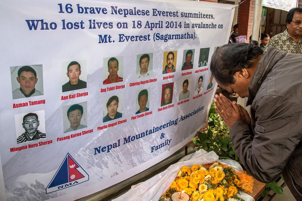 Mount Everest claimed 16 lives in an avalanche in 2014