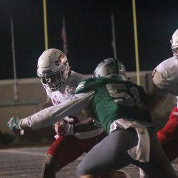 Jordan Huff going for the winning overtime touchdown.