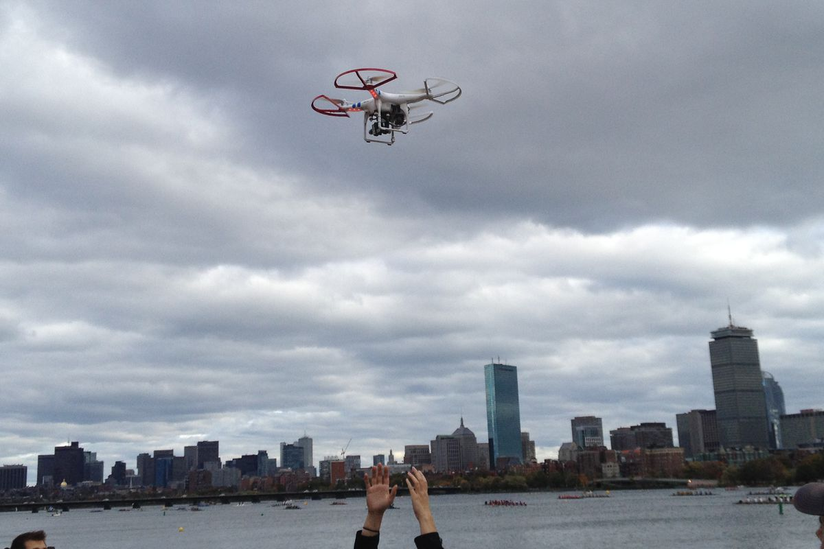 drone flying in city
