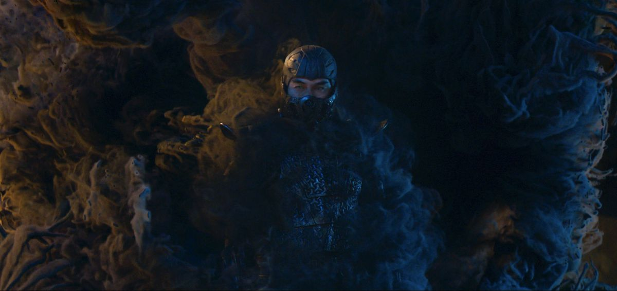 Sub-Zero emerges from a portal in Mortal Kombat (2021)
