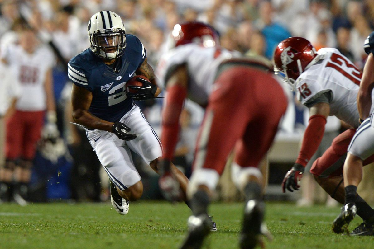 Aug 30, 2012; Provo, UT, USA; Brigham Young Cougars wide receiver Cody Hoffman (2) runs for a first down during the first quarter against the Washington State Cougars at Lavell Edwards Stadium. Mandatory Credit: Jake Roth-US PRESSWIRE
