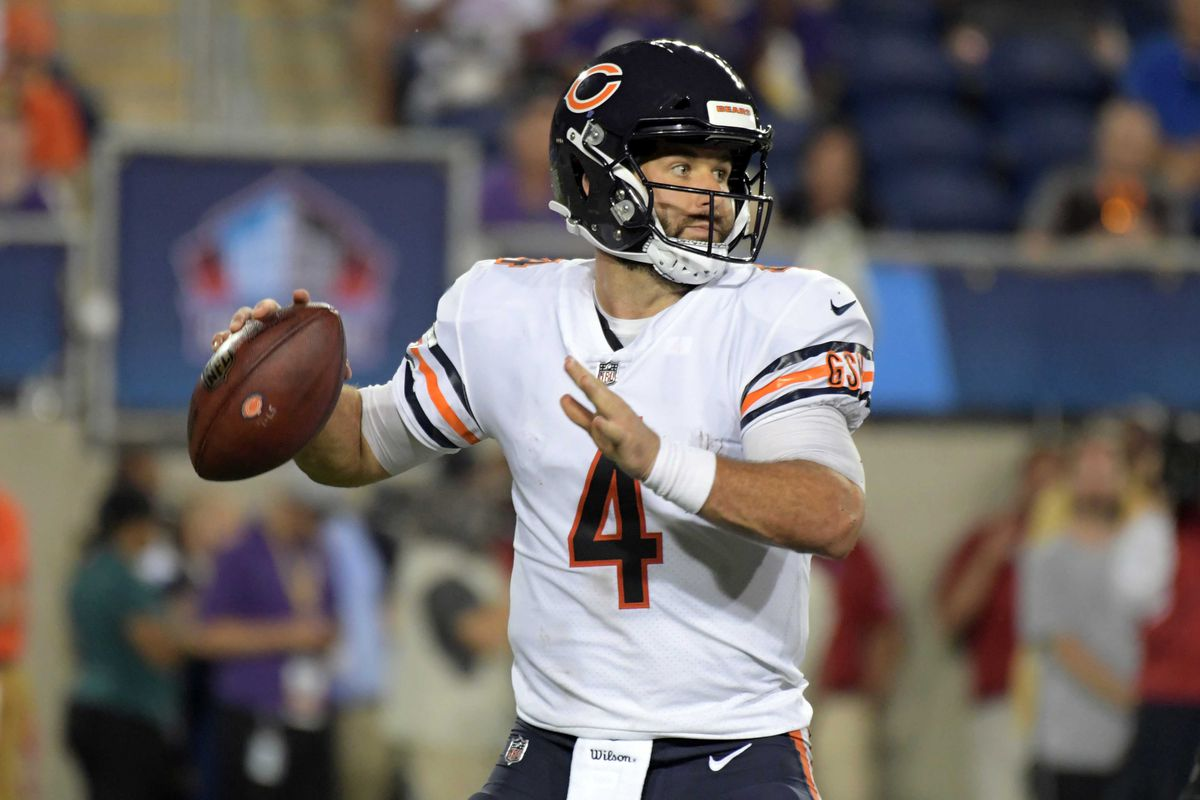 2e4322bddbb Chicago Bears quarterback Chase Daniel (4) throws a pass in the second  quarter against the Baltimore Ravens during the Hall of Fame Game at Tom  Benson Hall ...
