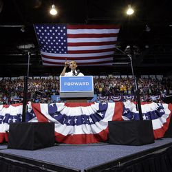 President Barack Obama speaks at a campaign event at Kent State University, Wednesday, Sept. 26, 2012 in Kent, Ohio.