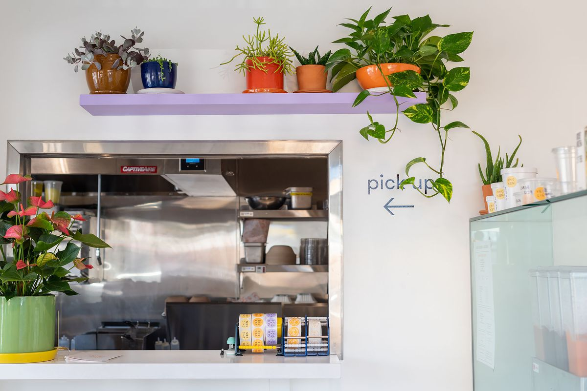 An order window at a new restaurant with house plants hanging above.