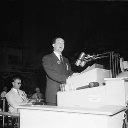 """FILE - In this July 14, 1948, file photo, Mayor Hubert H. Humphrey of Minneapolis wears a Truman button as he addresses the Democratic National Convention at Philadelphia. Democrats have little hope of matching the fervor and historical import of their 2008 convention, when they made Barack Obama the first black presidential nominee of a major political party. One of the memorable moments from past conventions was Humphrey declaring it's time to """"get out of the shadow of states' rights and walk forthrightly into the bright sunshine of human rights."""" When support for civil rights is added to the party platform, Mississippi's delegates and half of Alabama's walk out."""