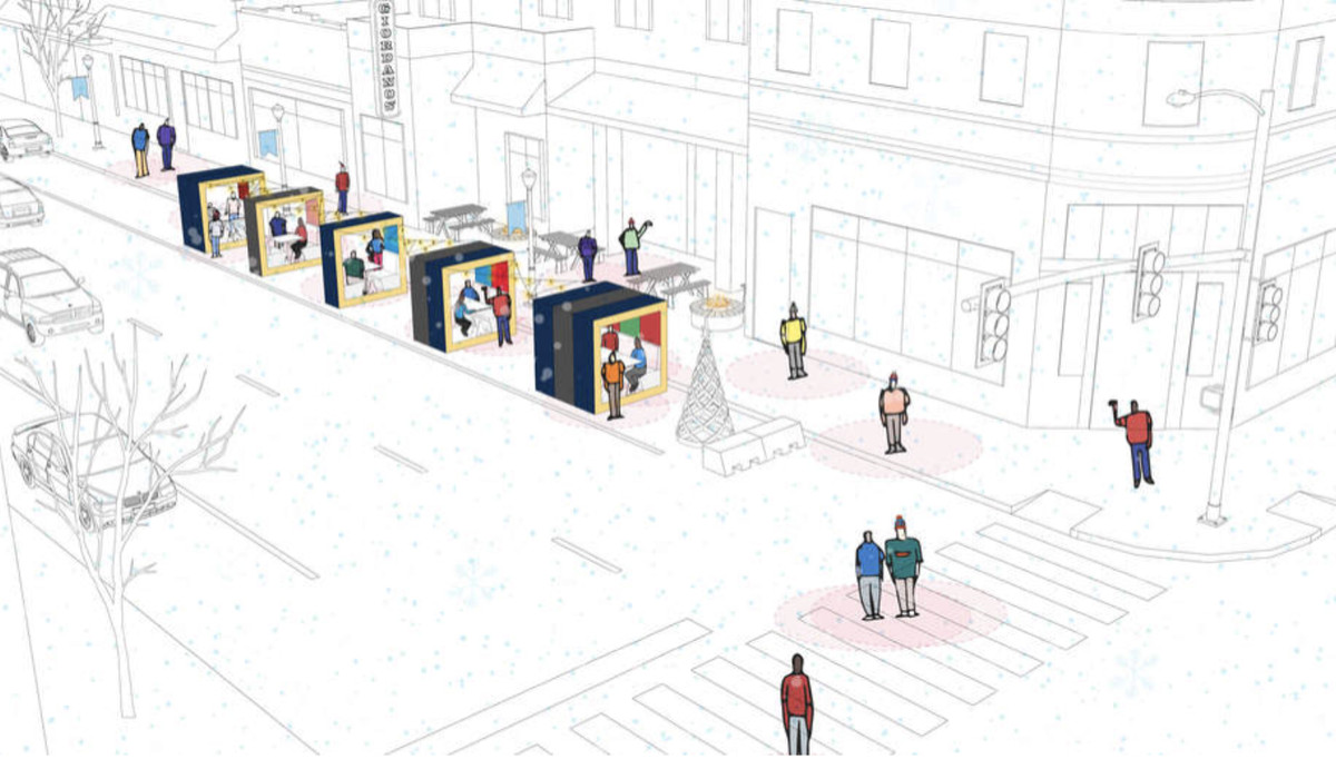 A rendering of a diners sitting inside a series of blocks along a winter street.