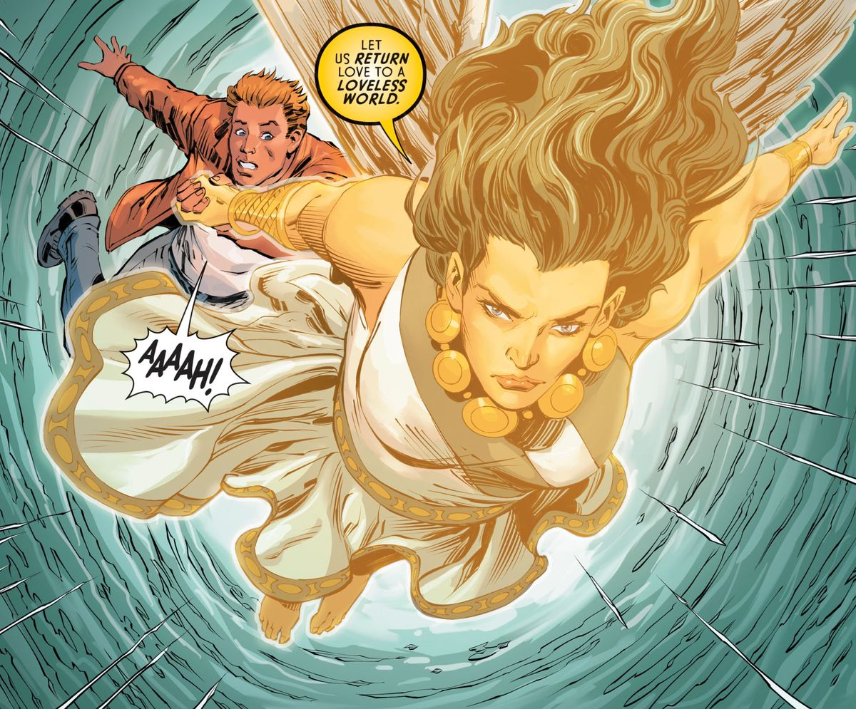 Atlantiades, the new deity of love, flies to Wonder Woman's aid with Steve Trevor in tow, Wonder Woman #81, DC Comics (2019).